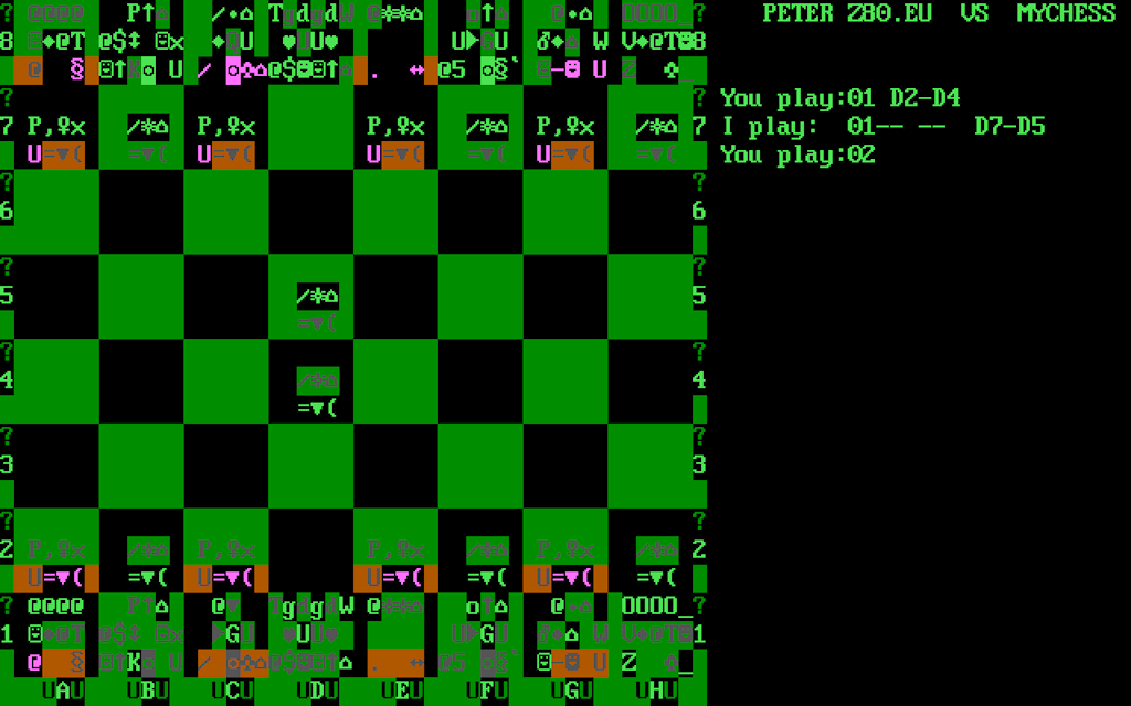 Peter's z80 eu site blog - And another CP/M chess program